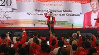 Ketua umum baru PKPI, Diaz Hendropriyono memberikan sambutan pada penutupan kongres luar biasa PKPI di Jakarta, Senin (14/5). Diaz terpilih secara aklamasi sebagai Ketua Umum PKPI menggantikan sang ayah, AM Hendropriyono. (Liputan6.com/Angga Yuniar)