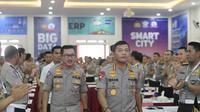 Kapolri Jenderal Idham Azis dan Kakorlantas Polri Irjen Istiono dalam Rakernis Fungsi Lalu Lintas T.A 2020 di Serpong, Tangsel. (Istimewa)