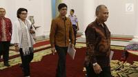 Ketua KPK Komisi Pemberantasan Korupsi (KPK) Agus Rahardjo bersama pimpinan KPK lainnya memasuki Istana Bogor, Jawa Barat, Rabu (4/7). (Liputan6.com/Angga Yuniar)
