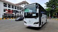 Bus listrik E-Inobus melakukan uji jalan. (ist)