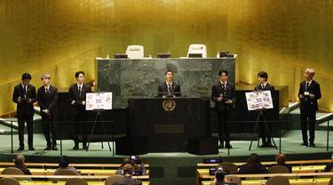 BTS di Sidang Umum PBB 2021. (John Angelillo/Pool via AP)