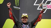 Jeremy Alcoba, pembalap Tim Indonesian Racing Gresini Moto3, meraih podium juara 3 Moto3, Sirkuit Catalunya, Barcelona, Spanyol. (Dok MotoGP)