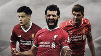 Philippe Coutinho, Mohamed Salah dan Steven Gerrard. (Bola.com/Dody Iryawan)
