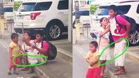 Seorang bocah menuntun orangtuanya yang tunanetra bikin warganet terenyuh. Sumber: Facebook/Ero Lawen.