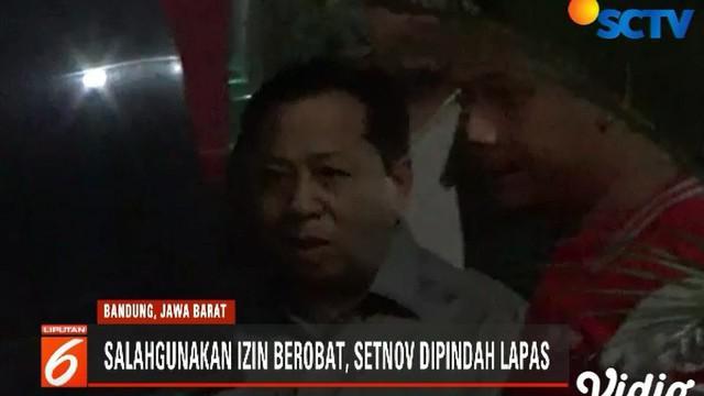 Setnov dipindah ke ruang isolasi Rutan Gunung Sindur, Bogor, sebagai tindakan tegas atas ulahnya menyalahgunakan izin berobat.