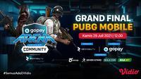 Jadwal dan Live Streaming Grand Final GoPay Arena Level Up Community PUBGM di Vidio, Kamis 29 Juli 2021. (Sumber : dok. vidio.com)