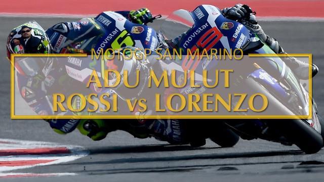Video adu mulut Valentino Rossi dengan Jorge Lorenzo di jumpa pers usai balapan MotoGP San Marino di Sirkuit Misano (11/9/2016).
