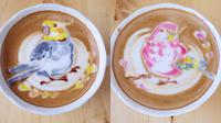 Ilustrasi burung warna-warni dari busa kopi latte (Sumber: Instagram/kunit92)