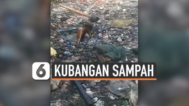 Viral di media sosial, sejumlah anak kecil asik bermain dan berenang di kubang sampah yang memiliki air berwarna hitam. Belum diketahui lokasi kejadian ini.
