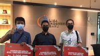 Tiga jurnalis KLY, satu dari Liputan6.com dan dua dari Bola.com, meraih penghargaan pada Lomba Pemberitaan Piala Menpora 2021. (Bola.com/Ario Yosia)