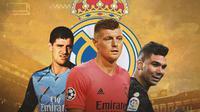 Real Madrid - Thibaut Courtois, Toni Kroos, Casemiro (Bola.com/Adreanus Titus)