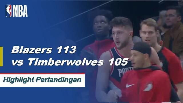 Damian Lillard mencetak 28 poin dan Jusuf Nurkic menambahkan double-double (22 poin, 11 rebound) saat Blazers mengalahkan Timberwolves, 113-105.