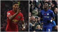 Striker Manchester United, Marcus Rashford (kanan), dan penyerang Chelsea, Tammy Abraham. (AFP)