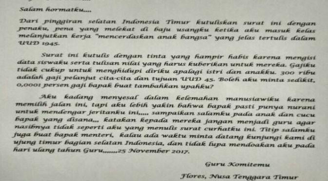 Surat guru untuk Jokowi. (Liputan6.com/Olda Keda)
