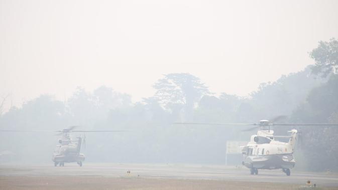 Helikopter BNPB bersiap memadamkan api di kebakaran hutan. (Dokumentasi BNPB)