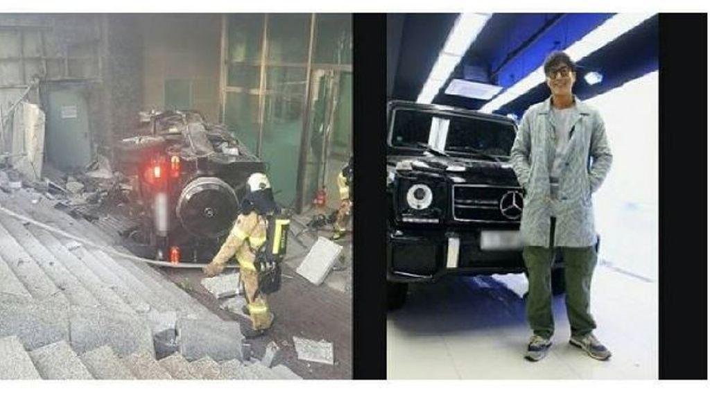 Kondisi mobil Kim Joo Hyuk yang ringsek setelah kecelakaan (Naver)