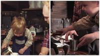 Seorang anak berusia 3 tahun meracik minuman kopi dengan penuh percaya diri.