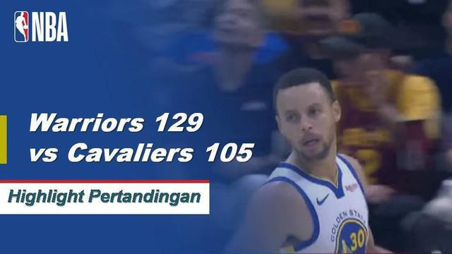 Stephen Curry selesai dengan 42 poin, 9 rebound dan 7 assist, dan Kevin Durant menambahkan double-double (25 poin, 10 rebound) ketika Golden State Warriors menerbangkan Cleveland Cavaliers di jalan, 129-105.