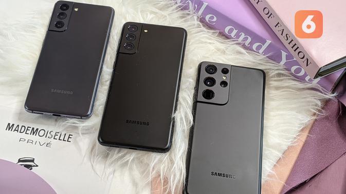 Samsung umumkan Galaxy S21, Galaxy S21 Plus, dan Galaxy S21 Ultra. (Liputan6.com/ Yuslianson)