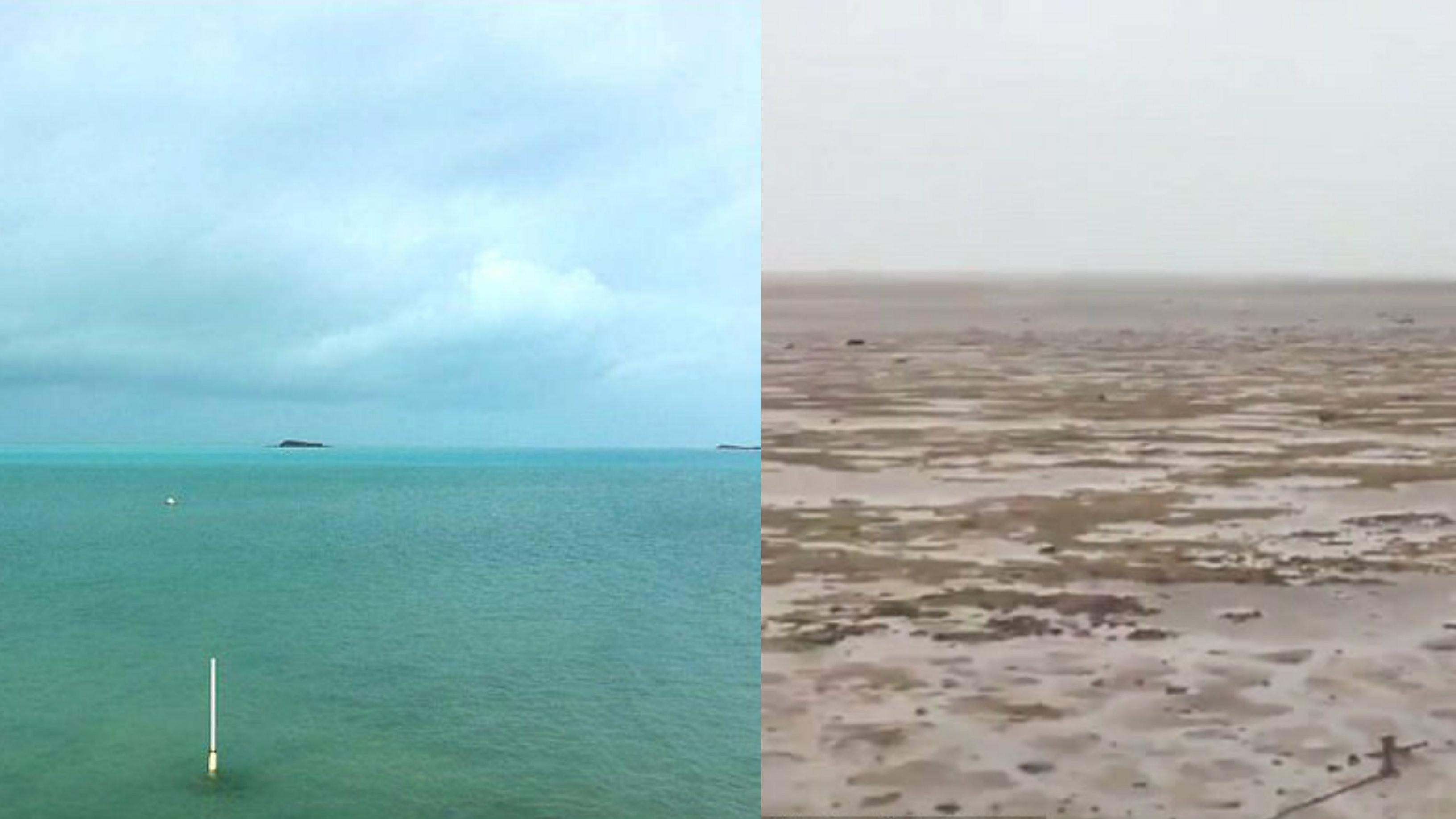 Laut di Bahama surut pasca-Badai Irma menerjang. (Twitter/@deejayeasya)