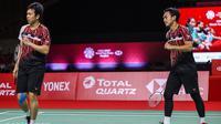 Ganda putra Indonesia Mohammad Ahsan/Hendra Setiawan lolos ke semifinal BWF World Tour Finals 2020 yang berlangsung di Impact Arena, Bangkok, Thailand, Jumat (29/1/2020). (foto: BWF-limited acces)