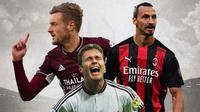 Ilustrasi - Jamie Vardy, Oliver Bierhoff, Zlatan Ibrahimovic (Bola.com/Adreanus Titus)