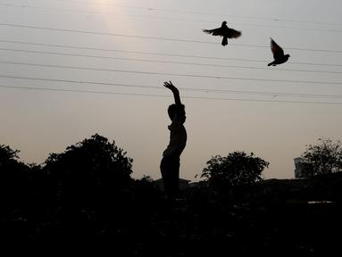 Seorang anak melepas burung merpati di bantaran Kanal Banjir Barat (KBB), Petamburan, Jakarta, Kamis (21/9). Bermain burung merpati merupakan hobi yang digemari warga di bantaran Kanal Banjir Barat untuk mengisi waktu libur. (Liputan6.com/Johan Tallo)