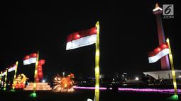 Hiasan salah satu lampion ditampilkan dalam Festival of Light di Monumen Nasional (Monas), Jakarta, Rabu (14/8/2019).Festival ini digelar dalam rangka mememeriahkan HUT ke-74 Republik Indonesia. (merdeka.com/Iqbal S. Nugroho)