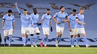 Manchester City meraih kemenangan 5-0 atas Burnley pada laga pekan ke-10 Premier League di Stadion Etihad, Sabtu (28/11/2020) malam WIB. (Laurence Griffiths/Pool via AP)
