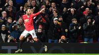 Pemain Manchester United Juan Mata melakukan selebrasi usai mencetak gol ke gawang Wolverhampton Wanderers pada putaran ketiga Piala FA di Old Trafford, Manchester, Inggris, Rabu (15/1/2020). Gol tunggal Juan Mata membawa MU ke babak 16 besar. (PAUL ELLIS/AFP)