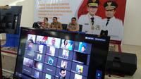 Dinas Kesehatan Sulsel saat video conference dengan Kementerian Kesehatan (Fauzan)