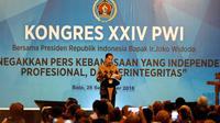 Presiden Jokowi menghadiri Kongres XXIV Persatuan Wartawan Indonesia (PWI) yang digelar di Solo, Jumat, 28 September 2018. (Liputan6.com/Fajar Abrori)