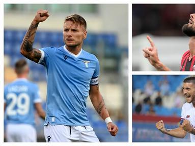 Liga Italia 2021/2022 yang baru menyelesaikan pekan kedua diwarnai aroma persaingan dua tim ibu kota, Lazio dan AS Roma dalam daftar top skor sementara. Striker Lazio, Ciro Immobile ditempel ketat gelandang AS Roma, Jordan Veretout. Berikut daftar lengkapnya. (Foto: Kolase AP)