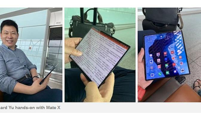 CEO Huawei tampak menggunakan Mate X (screenshot via GSM Arena)