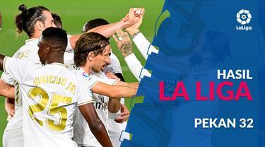 Berita motion grafis klasemen La Liga pekan ke-32. Real Madrid  pimpin puncak klasemen sementara.