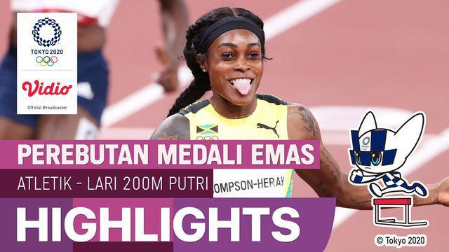 Berita video highlights final lari 200 meter putri Olimpiade Tokyo 2020, di mana Elaine Thompson-Herah mencatatkan rekor sebagai sprinter putri pertama yang mempertahankan medali emas di nomor 100 dan 200 meter Olimpiade.