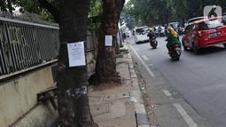 Penanda berlogo Pemprov DKI Jakarta terlihat di salah satu pohon yang akan direvitalisasi di Kawasan Kemang, Jakarta, Sabtu (9/11/2019). Sejumlah pohon akan direvitalisasi dan ditebang karena beberapa alasan salah satunya, posisinya dianggap merusak saluran. (Liputan6.com/Helmi Fithriansyah)