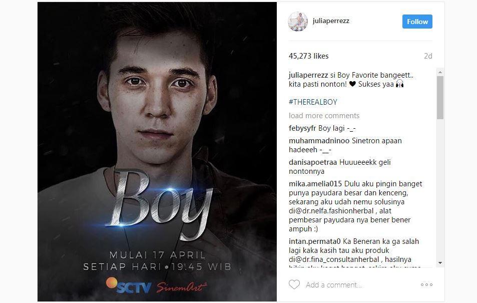 Julia Perez siap menyaksikan sinetron Boy (Instagram)