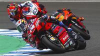 Pembalap Ducati, Andrea Dovizioso saat tampil pada lomba MotoGP Jerez, 19 Juli 2020. (AP Photo/David Clares)