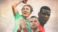 Ilustrasi Pemain - Luka Modric, Jordan Henderson, Paul Pogba (Bola.com/Adreanus Titus)
