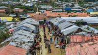 Pandangan umum dari Kamp Pengungsi Kutupalong di Cox's Bazar, Bangladesh, Senin (22/7/2019). Lebih dari satu juta etnis Rohingya melarikan diri dari Myanmar dan menetap di Kutupalong yang merupakan salah satu kamp pengungsi terbesar di dunia. (MUNIR UZ ZAMAN/AFP)
