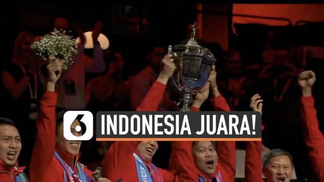 Tim badminton putra Indonesia akhirnya bisa kembali angkat trofi Thomas Cup setelah penantian hampir 2 dekade. Indonesia sukses tumbangkan China 3-0 di babak final.