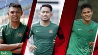 Tiga pemain Timnas Indomesia yang siap memberikan kejutan, Dedik Setiawan, Andik Vermansah dan Fachrudin Aryanto. (Bola.com/Dody Iryawan)