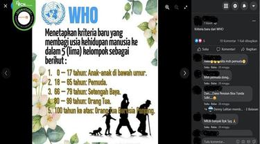 Gambar Tangkapan Layar Kabar WHO Mengeluarkan Kriteria Baru Kelompok Usia (sumber: Facebook).
