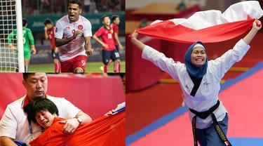 Berikut ini ragam selebrasi terbaik saat perhelatan akbar Asian Games 2018. (Foto-foto Bola.com dan AP)