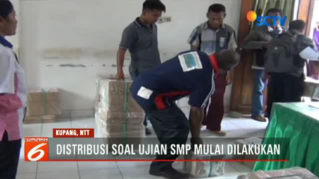 Pendistribusian soal Ujian Nasional tingkat SMP sederajat di Kabupaten Timor Tengah Selatan, NTT (Nusa Tenggara Timur), mulai dilakukan hari ini.