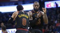 Selebrasi LeBron James  saat Cavaliers kalahkan Thunder (AP)