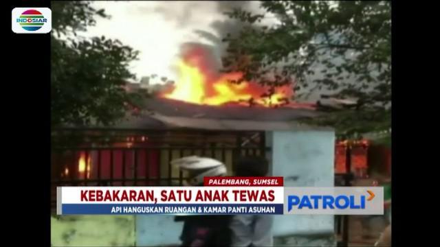 Seorang anak tewas ketika bersembunyi di dalam lemari saat api lalap bangunan panti asuhan.