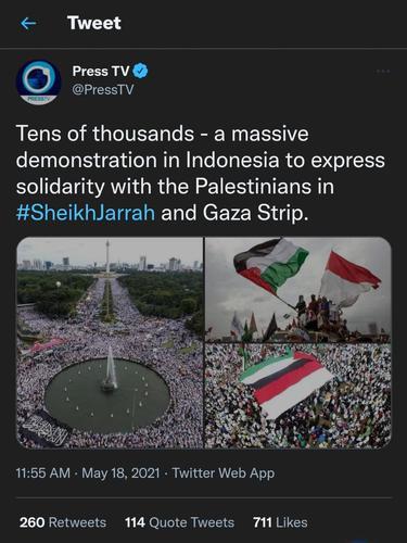 Akun Twitter media Iran Press TV mengunggah status ada demo besar untuk bela Palestina. (Screenshot)