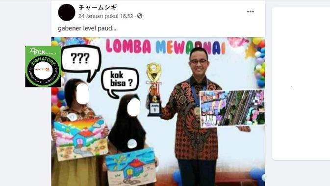 Cek Fakta Liputan6.com menelusuri klaim foto Anies meraih juara 1 lomba mewarnai